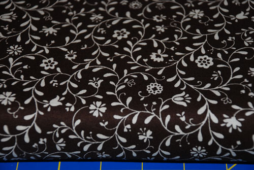 Brown & Cream Japanese Floral Cotton Fabric-japan, japanese, import, flowers, brown, cream, sewing, quilting, patchwork