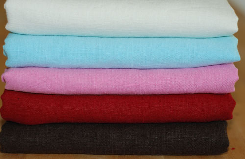 Organic Linen Solid Mixed Fabric Bundle.....1/2 yard cuts-organic, linen, fabric, solid, blue, pink, white, brown, red, european