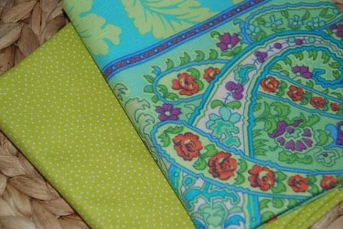 Charmed Lime Fat Quarter Bundle Cotton Fabric-charm, amy butler, lime, green, flowers, paisley, dot, polka dots, free spirit fabrics, cotton