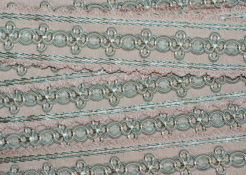 Pink & Cream Woven Vintage French Trim-vintage, french, trim, cream, pink, floral, woven, sewing, crafting, totes, pillows