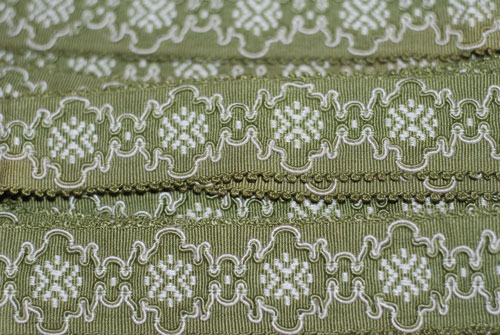 Sage Green & Cream Floral Woven Vintage French Trim 1-vintage, french, trim, imported, floral