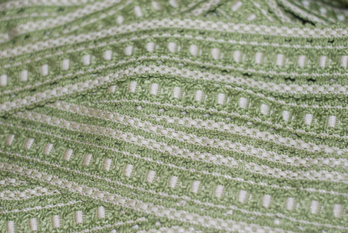 Green & Cream Woven Vintage French Trim 2-vintage, french, european, trim, woven, green, cream