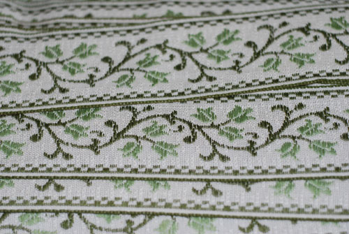 Green Floral Vines Woven Vintage Green Trim-vintage, french, european, green, flowers, vines, green, cream, trim, woven