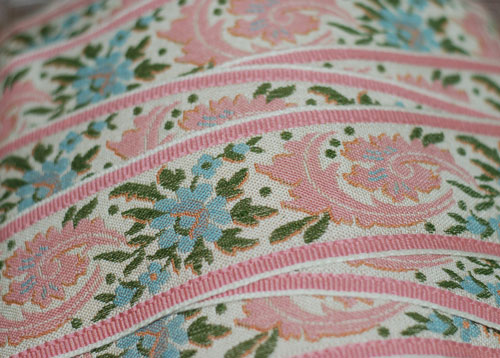 Pink and Blue Floral Woven Vintage French Trim-vintage, french, woven, trim, floral, pink, blue, european