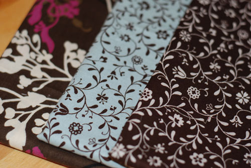 Retro Blue & Brown Flowers Fat Quarter Bundle-japanese, moda, lecien, cotton, fabric, blue, brown, flowers, retro patchwork, sewing
