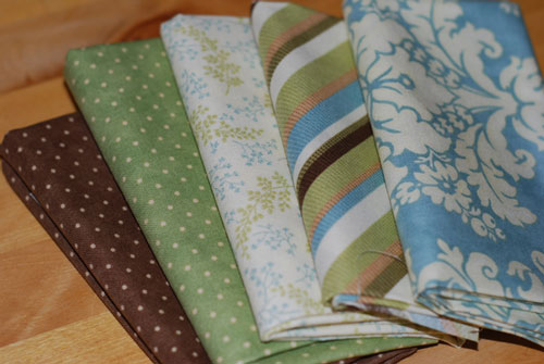 Blues, Greens & Browns Mixed Cotton Fabric Bundle Fat Quarters-cotton, fabric, fat quarters, moda, flowers, dots, stripes, blue, green, brown, patchwork, sewing, q