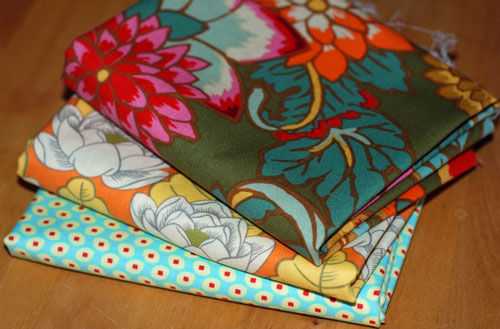 Autumn Blooms & Dots Cotton Fabric Mixed Bundle....1/2 yard cuts-kaffe fassett, amy butler, lotus, dahlias, green, orange, yellow, cotton, fabric, sewing, retro, wes