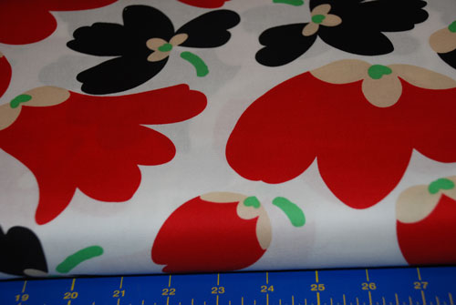 Red, Black & White Retro Flowers Cotton Fabric-cotton, fabric, flowers, finladia, free spirit fabrics, sewing, patchwork, quilting, crafting, red,