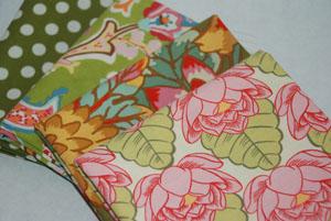 Lovely Greens Cotton Fabric FQ Bundle 2-cotton, fabric, moda, chez moi, amy butler, lotus, kaffe fassett, spots, flowers, green, pink, paisl