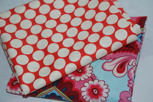 Aqua and Red Amy Butler Belle and Lotus Cotton Fabric FQ Bundle-cotton, fabric, amy butler, belle, lotus, red, aqua, fat quarters, fq, bundle dots, floral