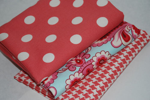 Aqua and Red Floral Dots and Herringbone FQ Bundle-cotton, fabric, amy butler, belle, urban chiks, summer in the city, red, aqua, dots, herringbone, fl