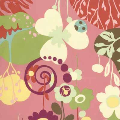 Moda Momo's Wonderland 32100-12 Pink Floral Print Cotton Fabric-momo's, wonderland, cotton, fabric, moda, sewing, whimsical, patchwork, pink, floral, flowers