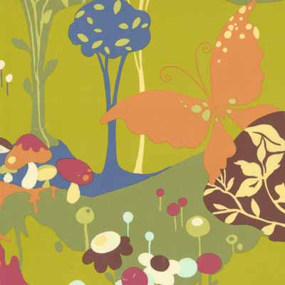 Moda Momo's Wonderland 32100-16 Floral Cotton Fabric-cotton, fabric, sewing, quilting, moda, momo's, wonderland, pistachio, flowers