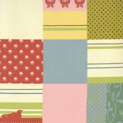 Moda Momo's Wonderland 32101-11 Patchwork Print Cotton Fabric-momo's, wonderland, cotton, fabric, moda, sewing, whimsical, patchwork