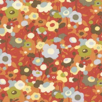 Moda Momo's Wonderland 32103-14 Tomato Red Floral Cotton Fabric-momo's, wonderland, tomato, red, small, floral, cotton, fabric, moda, quilting, sewing