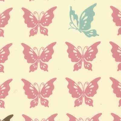 Moda Momo's Wonderland 32105-11 Pink Butterfly Print Cotton Fabric-momo's, wonderland, cotton, fabric, moda, sewing, whimsical, patchwork, pink, butterflies
