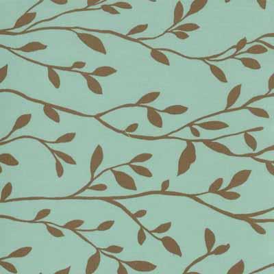 Moda Momo's Wonderland 32107-29 Aqua Brown Vine Print Cotton Fabric-momo's, wonderland, cotton, fabric, moda, sewing, whimsical, patchwork, aqua, brown, vine