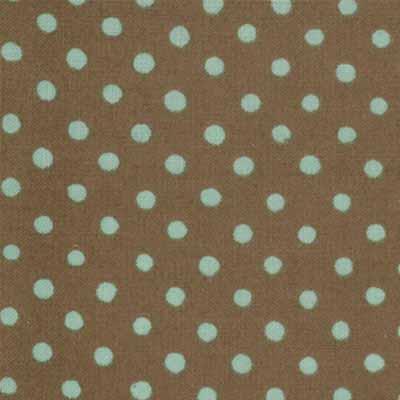 Moda Momo's Wonderland 32108-39 Brown Aqua Dot Print Cotton Fabric-