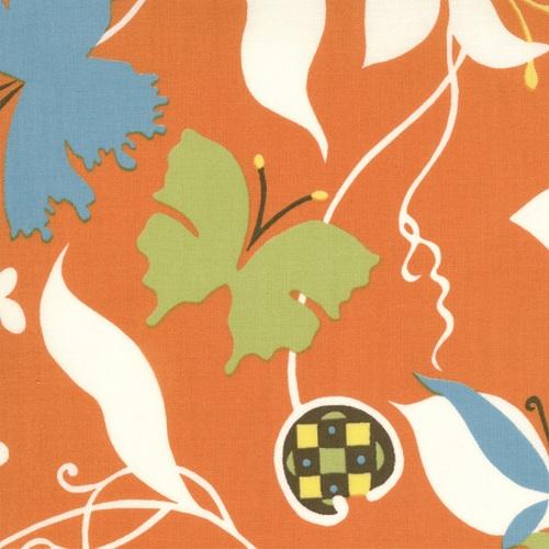 Moda Chrysalis by Sanae Cotton Fabric Emergence Orange 32420-18- moda, sanae, chrysalis, fabric, cotton,