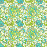 Amy Butler Soul Blossoms Dancing Paisley Lemon Cotton Fabric-cotton, fabric, amy butler, soul blossoms, dancing paisley, new, modern, designer