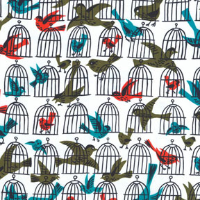 Michael Miller Tribute to Tammis keefe Caged Birds Cotton Fabric-Michael Miller, Tribute, to, Tammis, keefe, Caged, Birds ,Cotton, Fabric