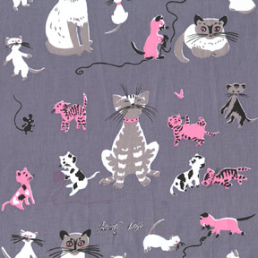 Michael Miller Tribute to Tammis Keefe Gray Cat Cotton Fabric-Michael Miller, Tribute, to, Tammis, Keefe, gray, cats ,Cotton, Fabric