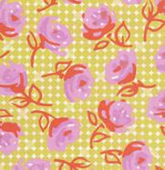 Erin McMorris Weekends Lime Rose Cotton Fabric EM22Lime-erin, mcmorris, weekends, roses, vintag, lime, rose, dots, free spirit fabrics
