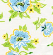 Heather Baily Nicey Jane Church Flowers Blue Cotton Fabric-heather bailey, nicey jane, church flowers, blue, free spirit fabrics, blue, white, yellow, flowers,