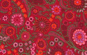 Liberty Art Marylebone KASHMIR Red Cotton Fabric-cotton, fabric, red, kashmir, lb15, kaffe fasset, liberty art, liberty of london, marylebone, floral