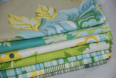 Heather Bailey Nicey Jane Blues FQ Bundle-cotton, fabric, nicey, jane, heather, bailey, blue, green, fat quarters, fqs, bundle