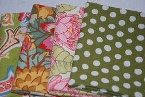 Lovely Greens Cotton Fabric FQ Bundle 2-cotton, fabric, moda, chez moi, amy butler, lotus, kaffe fassett, spots, flowers, green, pink, paisl