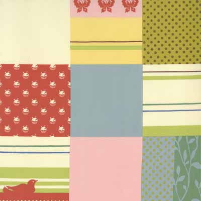 Moda Momo's Wonderland 32101-11 Patchwork Print Cotton Fabric-momo's, wonderland, cotton, fabric, moda, sewing, whimsical, patchwork