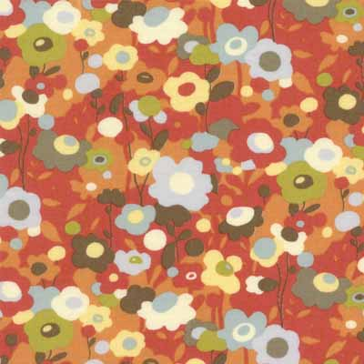 Moda Momo's Wonderland 32103-14 Tomato Red Floral Cotton Fabric-momo's, wonderland, tomato, red, small, floral, cotton, fabric, moda, quilting, sewing