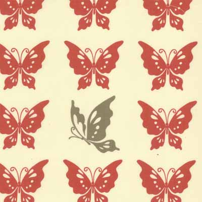 Moda Momo's Wonderland 32105-13 Red Butterfly  Cotton Fabric-