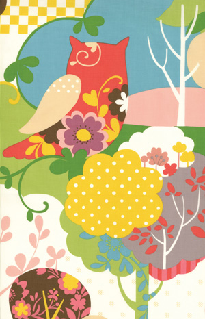 Momo's It's A Hoot Marshmallow Owl Cotton Fabric 32370-11-momo's, moda, it's a hoot, cotton, fabric, owl, japanese, kawaii, cute, flowers, mult-colored, new,