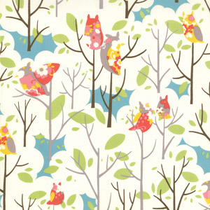 Momo's It's A Hoot Marshmallow Floral Cotton Fabric 32373-11-