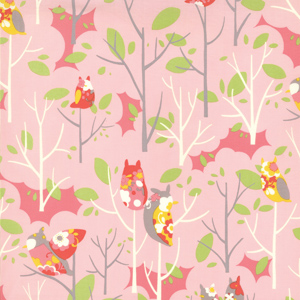 Momo's It's A Hoot Raspberry Floral Cotton Fabric 32373-12-