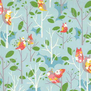 Momo's It's A Hoot Sky Floral Cotton Fabric 32373-17-