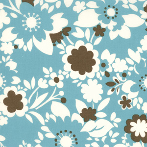 Momo's It's A Hoot Turquoise Flowers Cotton Fabric 32374-15-