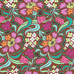 Amy Butler Soul Blossoms Disco Flowers Chocolate Cotton Fabric-cotton, fabric, disco, flowers, floral, amy, butler, chocolate, soul, blossoms