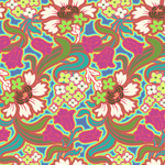 Amy Bulter Soul Blossoms Disco Flowers Hot Pink Cotton Fabric-cotton, fabric, soul, blossoms, amy, butler, disco, flowers, floral, hot, pink