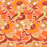 Amy Butler Soul Blossoms Disco Flower Tangerine Cotton Fabric-orange, tangerine, cotton, fabric, disco, flower, amy, butler, soul, blossoms, floral