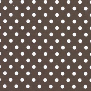 Michael Miller Dumb Dot Brown Cotton Fabric-   Michael Miller, dot, dumb, cotton, fabric, brown, white