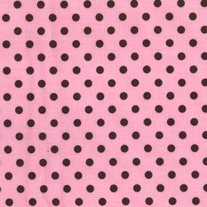 Michael Miller Dumb Dot Pink Cotton Fabric-Michael Miller, dot, dumb, cotton, fabric, pink, brown