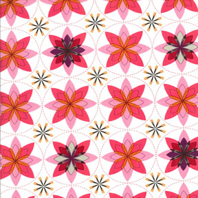 Patty Young Sanctuary Geo Bloom Sherbert Cotton Fabric DS4708-Sher-D-patty young, sanctuary, sherbert, geo bloom, floral, fabric, michael miller, yardage, white, pink