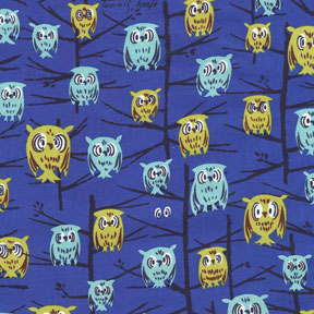 Michael Miller Tribute to Tammis Keefe Blue Owls Cotton Fabric-Michael Miller, Tribute, to, Tammis, keefe, blue, owls ,Cotton, Fabric