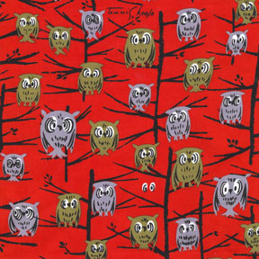 Michael Miller Tribute to Tammis keefe Red Owls Cotton Fabric-Michael Miller, Tribute, to, Tammis, keefe, Caged, owls, red ,Cotton, Fabric