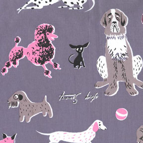 Michael Miller Tribute to Tammis Keefe Gray Dogs Cotton Fabric-Michael Miller, Tribute, to, Tammis, keefe, gray, dogs,Cotton, Fabric