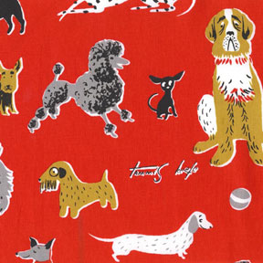 Michael Miller Tribute to Tammis Keefe Red Dogs Cotton Fabric-Michael Miller, Tribute, to, Tammis, keefe, red, dogs,Cotton, Fabric