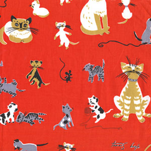 Michael Miller Tribute to Tammis Keefe Red Cats Cotton Fabric-Michael Miller, Tribute, to, Tammis, keefe, red, cats ,Cotton, Fabric